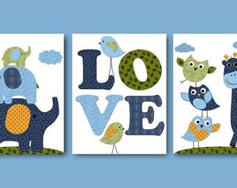 Baby Gift Giraffe Elephant Instant Download Art Baby Boy Nursery Art Kids Wall Art Digital Download Print Digital Art Set of 3 8X10 11X14