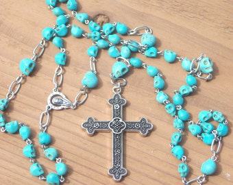 Day of the Dead Turquoise Skull Rosary Beads