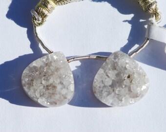 Drusy quartz pendants,Pair, Side Drilled, grey, chalcedony Druzy 20 x 20mm, C4338