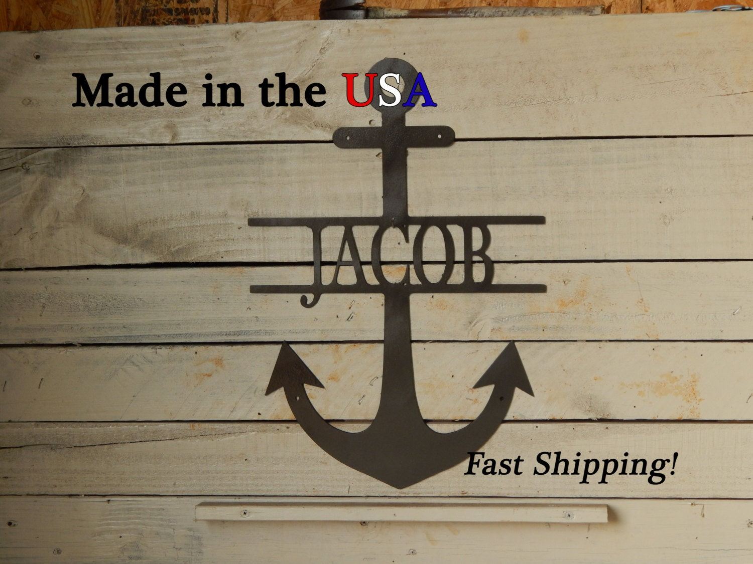 Anchor with name large anchor door decor child decor for Anchor door decoration