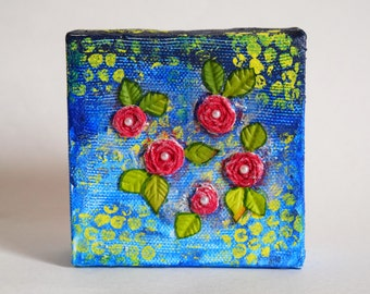 """Mixed Media Embroidered Flower Ombre Canvas art 4""""X4"""""""