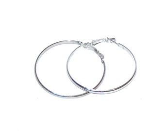 Large Silver Hoop Earrings - Half Round / Chrome Look / Clip Back Posts - Excellent Condition - Item 118