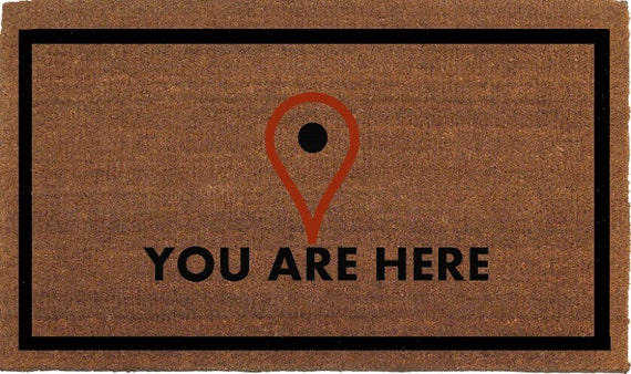 You Are Here Map Locator Icon Funny Door Mat By