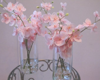 SET OF TWO  Wedding centerpiece Beautiful Silk Flower Arrangement-Pink Orchid  in  glass vase with faux water