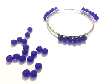 6mm Royal Blue Glass Crystals - Set of 18 Beads for Wire Bangle Bracelet - Dark Blue Navy Faceted Beads