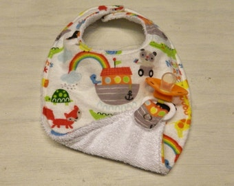 Triple Layer Binky Bib- Pacifier Bib- Noah's Ark- Animals
