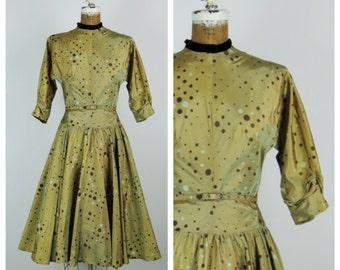 SALE Vintage 1950s Dress / 50s Olive Green Polka Dot Taffeta Party Dress / Small