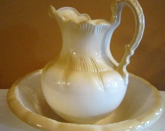 Vintage  Large White and yellow Wash Basin Bowl & Water Pitcher  Shabby Chic