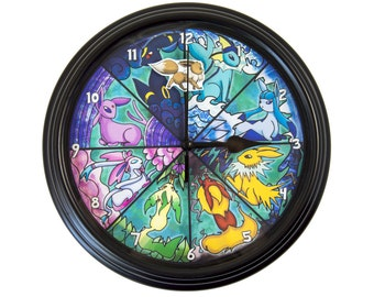 Eeveelution - 3D Wall Clock - Pokemon Clock - Pokemon Decor - Pokemon Wall Art - Pokemon Gift - Video Game Decor - College Dorm Decor