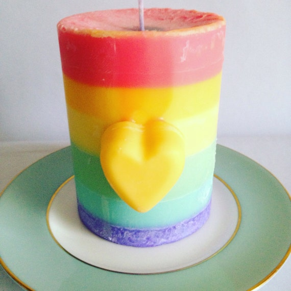 rainbow candle pride candle pillar candle spectrum gift