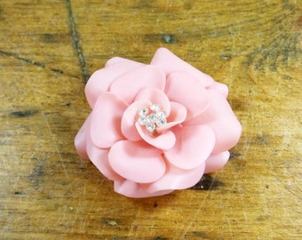 Vintage pink rose plastic brooch with diamante clear stones Made in Germany 1950s 1960s Valentines gift