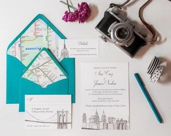 NYC Skyline Wedding Invitation Suite