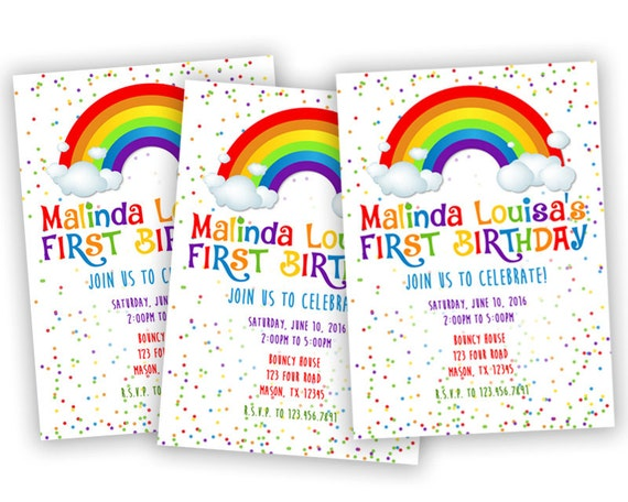printable rainbow birthday invitation rainbow party, party invitations