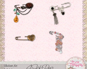 4 Ornate Safety Pins