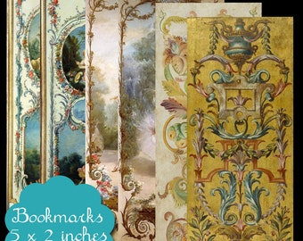 6 Vintage Wall Panel Art Bookmarks