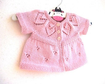 Betsy Cardi - Knitting Pattern - Baby girl to age 6 cardigan - Instant Download PDF