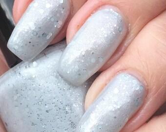 Run Away Bride - pale silvery gray with silver glitter nail polish