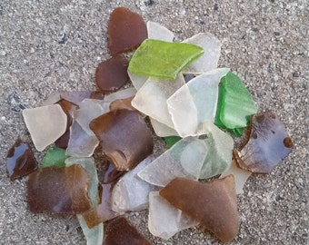 Lot of 30+ Small Pieces of Authentic New Jersey Beach Glass