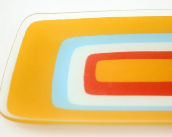 Vintage Serving Dish colorblock