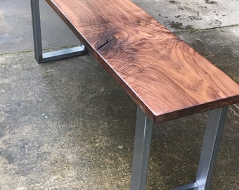 Industrial bench. Walnut bench. Hardwood bench. Office bench. Modern bench. Entryway bench. Diningroom bench. Dark wood bench.