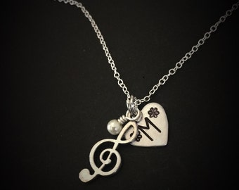 Music Jewelry-Treble Clef Necklace, Music Note Charm, Music Necklace-recital gift, music teacher gift, piano recital gift, recital present