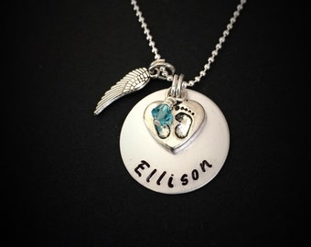 Personalized memorial necklace for loss of baby-loss of child gift, child loss, miscarriage gift, memorial of child