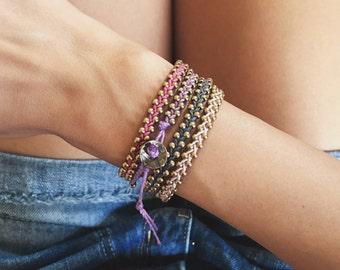 Leather bracelet - beaded bracelet - bracelet set - adjustable bracelet - bohemian bracelet