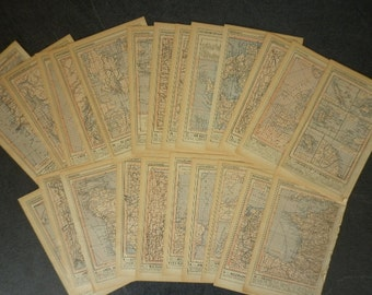 Ephemera map geography - pack  11 antique map pages - collage - scrapbbooking , altered art ...
