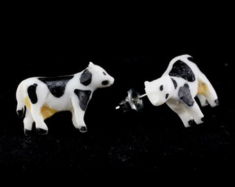 "Hand Carved - ""Cow"" - Bone with Jackfruit and Horn Inlay Stud Earring - Farm Life"
