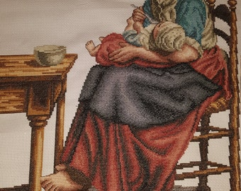 Cross Stitch, completed, Hand made Embroidery, Finished Cottage Madonna, Jozef Israels, Baby, Maternal