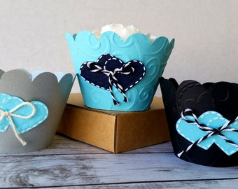 Baby Shower Wrappers, Embossed Cupcake Wrappers, Wedding Cupcake Wrappers, Custom Cupcake Wrappers, Heart Themed, Bridal Shower Wrappers