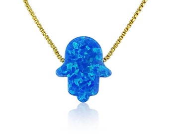 Opal Hamsa Necklace • Blue Opal with a Gold Plated Sterling Silver Chain • The Contrast Between the Gold Chain and Blue Opal is Beautiful
