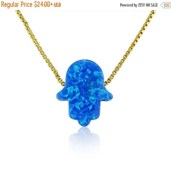 Blue Opal Hamsa Necklace with a Gold Plated Sterling Silver Chain • The Contrast Between the Gold Chain and Blue Opal is Beautiful