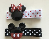Minne Mouse & Mickey Mouse Red Sparkle Hair Clips Set - Disney Inspired Barrettes (2 clips)