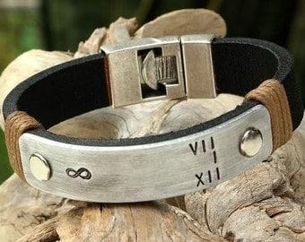 EXPRESS SHIPPING. Men Leather Bracelet, Personalized Men Bracelet, Gift for Boyfriend, Mothers Day Gift, Infinity Bracelet, Gift for Men