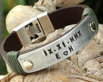 EXPRESS SHIPPING. Personalized Leather Bracelet. Custom Mens Bracelet. Mens Leather Bracelet. Hand Stamped Bracelet. Gift for Him. Birthday