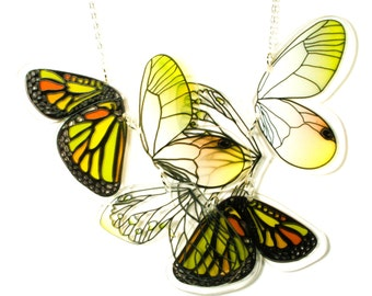 PANIKA Yellow flying wings statement necklace / laser cut perspex necklace