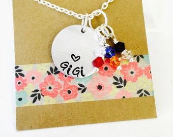 Grandma Birthstone Necklace, Grandma Necklace, Grandma Gift, Gigi Necklace, Personalized Grandma Necklace
