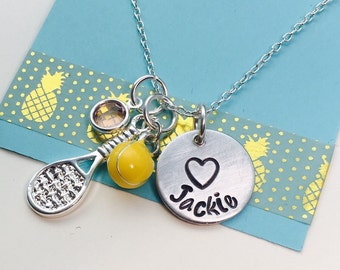 Tennis Necklace, Tennis Name Necklace, Racket Jewelry, Tennis Coach Gift,Tennis Player Gift, Tennis Charm Necklace