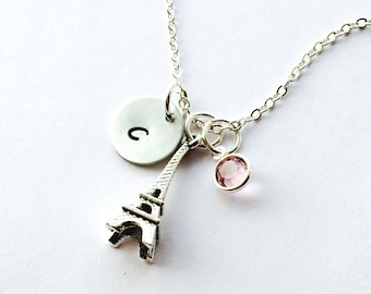 Eiffel Tower necklace, Paris, Eiffel Tower charm necklace, initial necklace, initial hand stamped, personalized