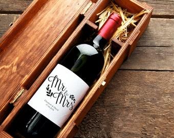 Wedding Wine Label, Custom Wine Label, Mr & Mrs Wine Label Printable, Wedding Printable, PDF Instant Download
