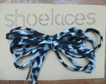Handmade Shoelaces - Black and White leopard print