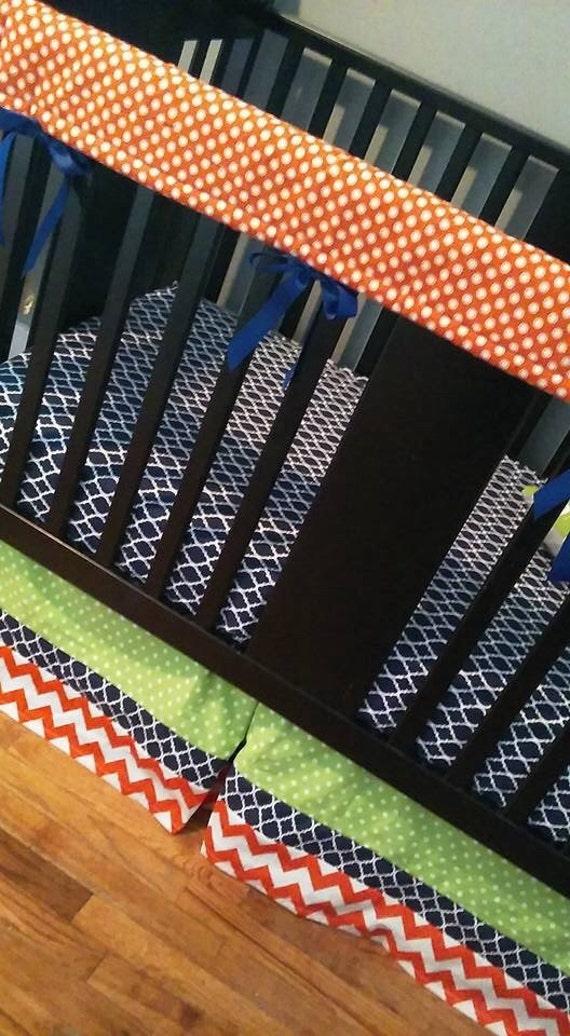 Crib bedding set orange navy blue lime green crib skirt - Navy blue and orange bedding ...
