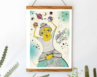 The Universe Is In Your Hands (instant download) - Original hand drawn illustration