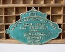 Vintage French agricultural award plaque 1971
