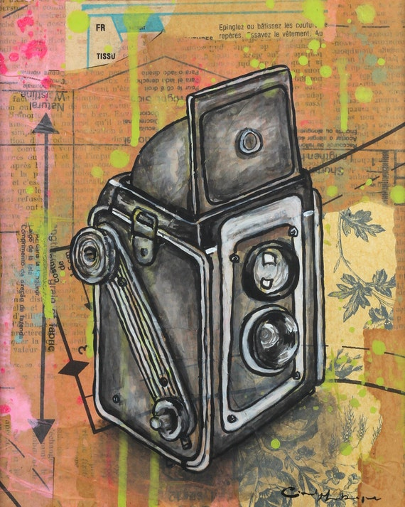 8 x 10 GICLEE print - Kodak Duaflex - mixed media painting by Cindy Labrecque, open edition.
