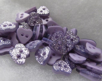 Pack of 10 12mm or 10mm Lilac Glitter Heart Buttons