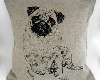 Pug - handmade linen pillow cover 40x40cm