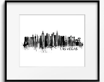 Las Vegas Skyline Black and White Watercolor Art Print (236) Cityscape Nevada