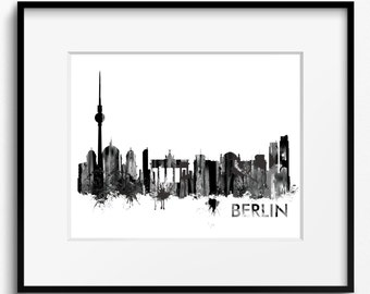 Berlin Skyline Watercolor, Black and White Art Print (720) Berlin Cityscape, Germany Art Print, Berlin Poster, Berlin Art Print, Berlin